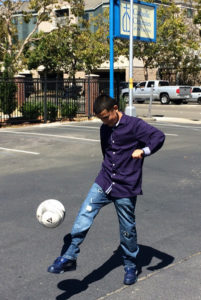 Abel shows his soccer skills.