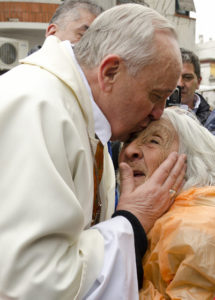 Be the Hands of Hope - Pope Francis comforts an elderly person